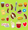 fast food love stickers vector image vector image