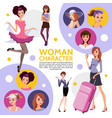 flat woman characters composition vector image