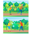 grandparents activity in park seniors vector image vector image