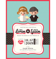 groom and bride icon wedding invite card template vector image vector image