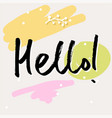 handwritten lettering hello word vector image