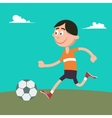 Happy Boy Playing Football with Ball vector image vector image