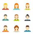 identity icons set flat style vector image