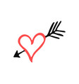 isolated handdrawn heart silhouette vector image vector image
