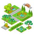 isometric city park landscape elements set vector image vector image