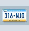 license plate pennsylvania vector image vector image
