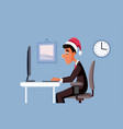 man working at office on christmas vector image