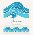 marine seamless pattern with stylized waves on a vector image vector image