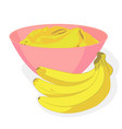 meshed banana in a bowl and a bunch of bananas vector image