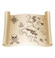 old treasure map on scroll vector image vector image