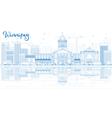 Outline Winnipeg Skyline with Blue Buildings vector image vector image