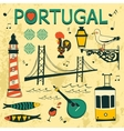 Portugal tipical icons collection vector image
