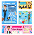 profession photographer tailor pilot jeweler vector image vector image