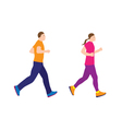 Running people couple vector image