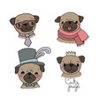 set of little pugs cute animals vector image vector image