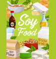 soy food and soybean products cartoon poster vector image