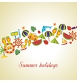Summer holiday flat icons set vector image vector image