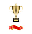 trophy cup on pedestal and silk glossy ribbon vector image