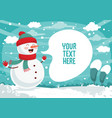 winter snowman background design vector image vector image