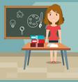 woman teacher in the classroom vector image vector image