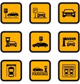 yellow car parking icons vector image vector image
