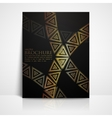 background with golden triangles brochure template vector image