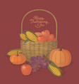 thanksgiving basket with fruit and vegetables vector image
