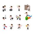set of businessman character cartoon isometric vector image