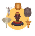 african animals and human heads and afro vector image