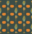 autumn corn plant crop and pumpkins on dark green vector image vector image
