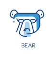 bear logo design blue label badge or emblem with vector image
