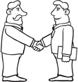 Black and white business men shaking hands vector image vector image