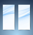 Blue soft line wave vertical banner set vector image vector image