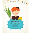 boy holding the Four species sukkot in Hebrew vector image vector image