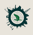 circle with industry relative silhouettes vector image vector image