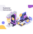 customer conversion isometric modern flat design vector image vector image