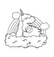 cute unicorn with clouds and rainbow kawaii vector image