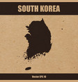 detailed map of south korea on craft paper vector image