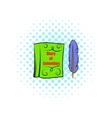 Diary of Columbus with feather icon comics style vector image
