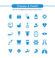 diesease and health icons set blue vector image