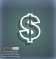 Dollar icon symbol on the blue-green abstract vector image