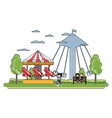doodle children eating and mechanical carnival vector image