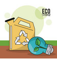 eco lifestyle gallon gas green bulb plant image vector image vector image