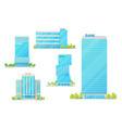 financial icons facade bank buildings vector image