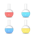 Flat bottom chemical flasks with colored sulutions vector image vector image