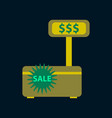 flat icon of cash machine sale discounts vector image