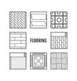 Flooring Flat icons of laminate parquet carpets vector image vector image