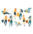 group of people shopping purchases clothes and vector image vector image