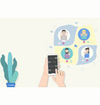 hand holds smartphone video conference friends vector image