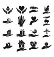 hand protect icon set simple style vector image vector image